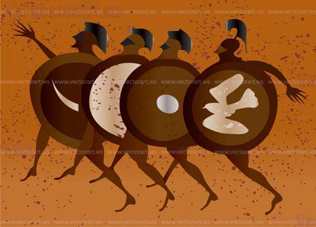 Greece mural painting greek soldiers editable vector for Ancient greek mural