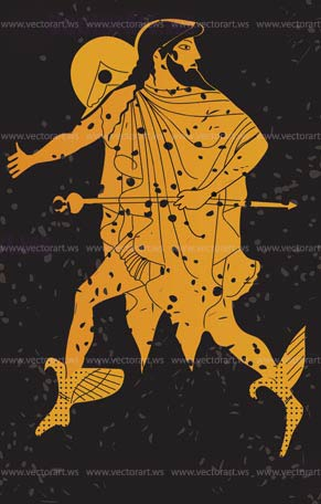 Greece mural painting greek soldier editable vector for Ancient greek mural