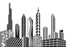 Black and white city - Vector illustration