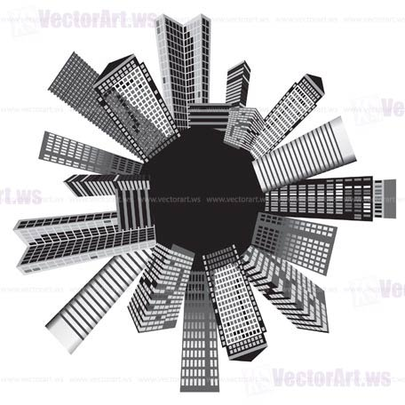 Black and white cities - Vector illustration