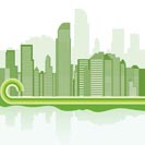green city background - Jakarta  - Vector illustration