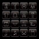Line Clothing and Dress Icons - Vector Icon Set