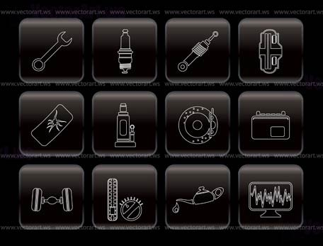 Car Parts And Services Icons Vector Icon Set 1 Vector Art