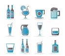different kind of drink icons - vector icon set