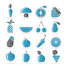 Different kinds of fruits and Vegetable icons - vector icon set