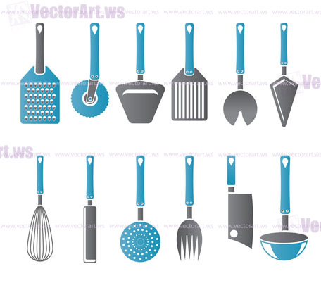 Different Kind Of Kitchen Accessories And Equipment Icons