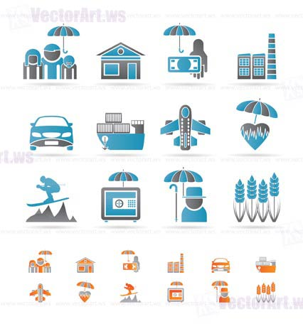 different kind of insurance and risk icons - vector icon set