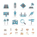 Road, navigation and travel icons - vector icon set