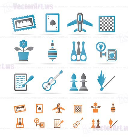 Hobby, Leisure and Holiday objects - Vector Illustration