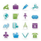 Business and office objects icons - vector icon set