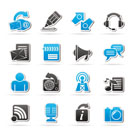 Blogging, communication and social network icons - vector icon set