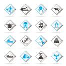 Warning Signs for dangers in sea, ocean, beach and rivers - vector icon set 1