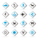 Warning Signs for dangers in sea, ocean, beach and rivers - vector icon set 2