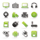Computer peripherals and accessories icons - vector icon set