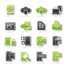 Connection, communication and mobile phone icons - vector icon set