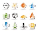 different kinds of future spacecraft icons - vector icon set