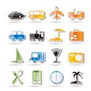 Travel, transportation, tourism and holiday icons - vector icon set