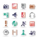 Media and household equipment icons - vector icon set