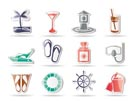 Sea, marine and holiday icons - vector icon set