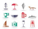 beach and holiday icons - vector icon set