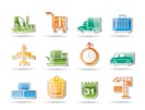 logistics, shipping and transportation objects - vector illustration