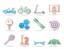 sports equipment and objects icons - vector icon set 2