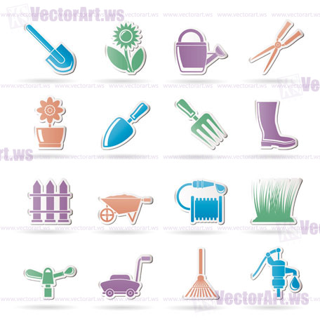 Great Garden And Gardening Tools And Objects Icons   Vector Icon Set