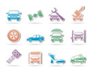 auto service and transportation icons - vector icon set