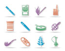 Smoking and cigarette icons - vector icon set