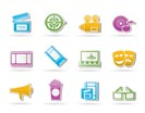 Movie theater and cinema icons - vector icon set