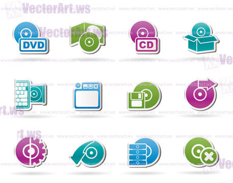 Computer Media and disk Icons - vector icon set