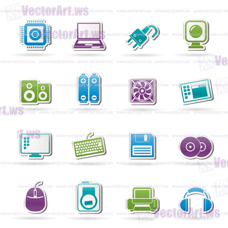 Computer Items and Accessories icons - vector icon set