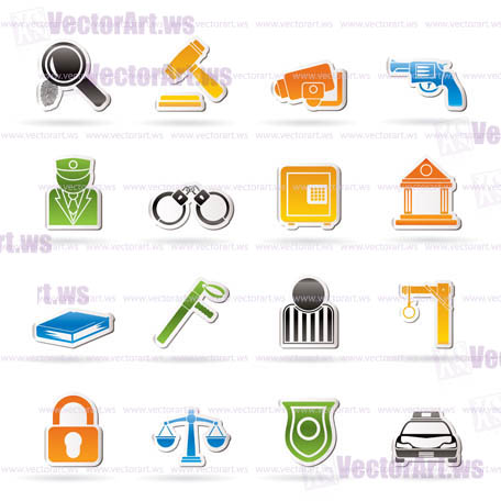 Law, Police and Crime icons - vector icon set Law, Police and Crime icons - vector icon set