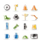 Simple Tourism and Holiday Vector Icon Set