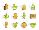 Child, Baby and Baby Online Shop Icons - Vector Icon Set