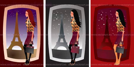 sexy girl in paris - vector illustration