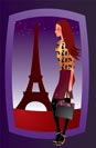 fashion sexy girl in paris - vector illustration