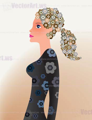 sexy woman with floral hair - vector illustration