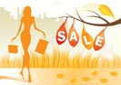 autumn background with shopping woman with shopping bags - vector illustration
