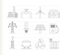 Power and electricity industry icons - vector icon set