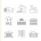 different kind of houses and buildings - Vector Illustration 1