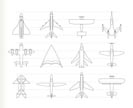 different types of plane icons - vector icon set