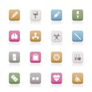 collection of  medical themed icons and warning-signs vector icon set