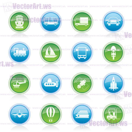 Transportation, travel and shipment icons - vector icon set