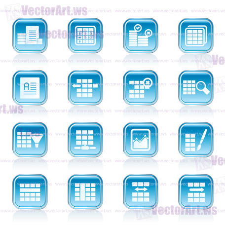 database and table formatting icons vector icon set vector art