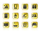 Hotel and motel room facilities icons - vector icon set