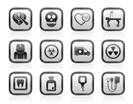 Medicine and hospital equipment icons - vector icon set