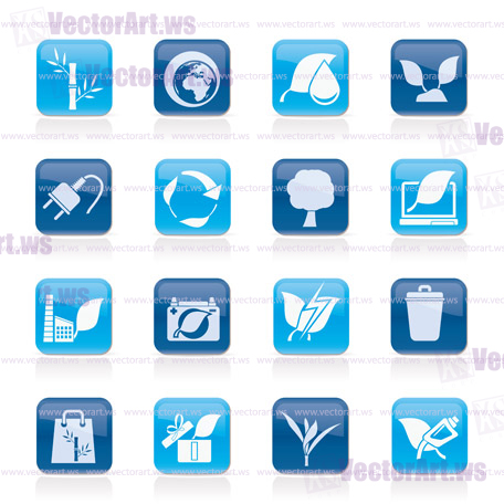 Environment and Conservation icons - vector icon set