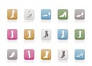 shoe and boot icons - vector icon set