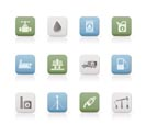 oil and petrol industry objects icons - vector icon set
